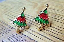 RED & GREEN CHRISTMAS TREES GOLDTONE & ENAMEL STUD EARRINGS WITH BUTTERFLY BACKS