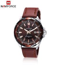 NAVIFORCE 9056 Fashion Men's Quartz Watch PU Leather Analog Date Wristwatch 3ATM
