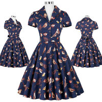 SUMMER LADIES 1940'S 1950'S 60'S VINTAGE STYLE RETRO  FLARED PINUP TEA DRESS NEW