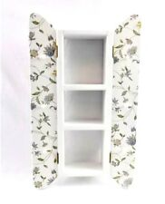 Wood Wall Shutter Shelf 3 Shelves 6 Pegs Painted Floral Decoupage Cottage