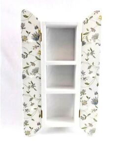 Wood Wall SHELF WITH SHUTTERS - 3 Shelves - 6 Pegs - Painted - Floral Decoupage