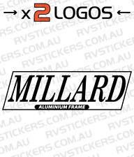 2x MILLARD ALUMINIUM FRAME Caravan decal, sticker, vintage, retro