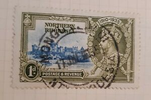 Northern Rhodesia Silver Jubilee 1d Blue and Olive.  FU cds Mongu. My ref D108