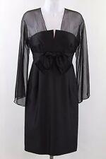 Teri Jon Black Long Sleeve Sheath Dress Bow Waist Detail Size 6