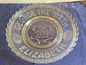 Vintage George VI Pressed Glass 1937 Coronation Plate