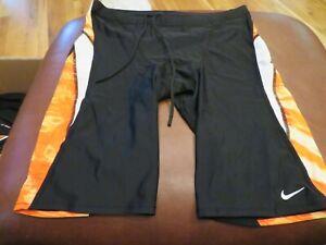 NWT Mens Black, White & Orange Nike Swim Jammers, 38