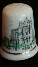 WHITBY ABBEY YORKSHIRE GOTHIC RUINS 7TH CENT DRACULA FINE CHINA SOUVENIR THIMBLE