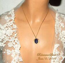 VINTAGE ART DECO CZECH GLASS COBALT BLUE CAMEO FINE BRASS CHAIN PENDANT NECKLACE