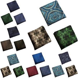 3 PCS Men's Polka Dots Paisley Floral Pocket Square Handkerchief Wedding Hanky