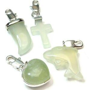 4 x New Jade Gemstone Good Luck Charms Pendant Heart Chakra Reiki WHOLESALE C02
