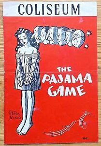 The Pajama Game programme Coliseum theatre ~1955 white bar Max Wall Joy Nichols