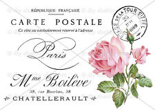 ROSE A6 HEART DECALS STICKER SHABBY CHIC FRENCH IMAGE TRANSFER VINTAGE LABELS