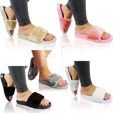LADIES WOMENS LOW FLAT MULE SLIP ON FUR TRIM SLIDERS SANDALS WEDGE SLIPPERS SIZE