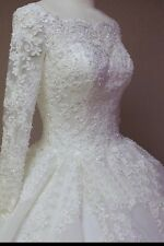 UK White/Ivory Long Sleeve Lace Wedding Dress Bridal Gown Sizes 6-22