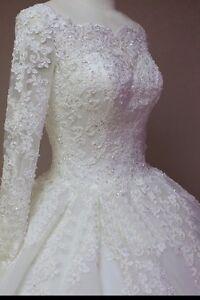 UK White/Ivory Long Sleeve Lace Wedding Dress Bridal Gown Sizes 6-22