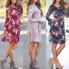Spring Women Ladies Casual Floral Flower Long Sleeve Dress BOHO Short Dress S-XL