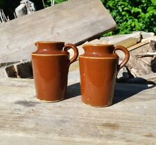 Pair Victorian Salt Glazed Brown Stoneware Cream Pots / jars 9.5cm Tall
