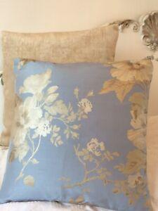 """16"""" Laura ashley Blenheim Silk  Blue Fabric cushion Cover  Back Gold  Velvet"""