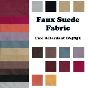Faux Suede Fabric - Fire Retardant / Resistant Fabric Material by the metre UK
