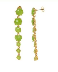 Les Nereides Drop Earrings Green Stone 18ct Gold Plated New
