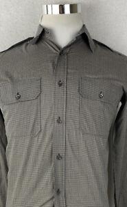 Ralph Lauren Black Label Shirt Slim Small Military Style Epaulettes Micro Check