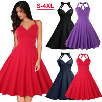 Women's Sleeveless Rockabilly 50s Vintage Cocktail Swing Dresses Party Cocktail