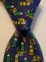 HERMES 7347 PA Men's Silk Necktie FRANCE Luxury BEER STEIN Barley Blue/Green EUC