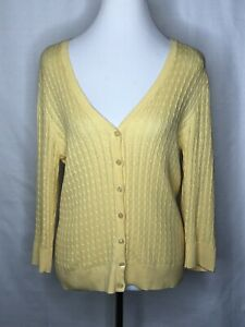 Jeanne Pierre Large Yellow Cable Knit Button Up Long Sleeve V Neck Sweater Light