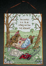 Boyds Bears Norman Doinuttin Tapestry Bannerette Wall Hanging