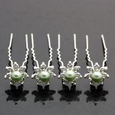 6 Crochets Épingles pics cheveux perle verte mariage