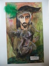 Cuba CHAMART Artist Charo Hand SIGNED Painting PIRATE FANCY BLCK HAT FISHES PO