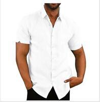 Men Cotton Linen Short Sleeve Shirt Summer Loose Casual Dress Soft Tops M-3XL