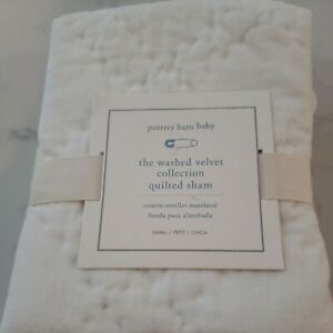 NWT Pottery Barn Baby Velvet Quilted Sham Size Small 12 x 16 Ivory