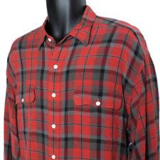 Ralph Lauren Wool Shirt Men's XL Red Plaid Long Sleeve Button Front