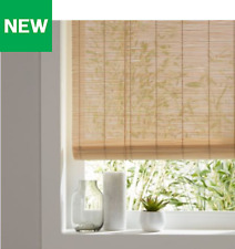 Corded Light Brown Roll Up Blind Bamboo & Cotton Window Blinds Multiple Sizes