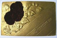 -- eerie message? -- Antique 1911 POST CARD embossed, velvet, gold, Lot E