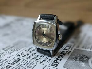 Ladies Vintage Sekonda 17 Jewels USSR Roman Numerals Sunburst Watch - Working