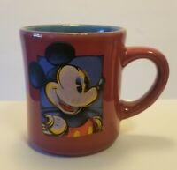 Disney Mickey Mouse Coffee Mug Cup Burgundy Micky Mouse Picture Blue Inside New