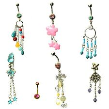 7 x dangle dangling bead belly bars silver stainless steel crystal gem navel 14g