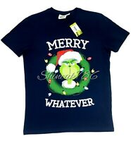 NEW Grinch Merry Whatever Xmas Christmas Navy T Shirt Top T-Shirt Mens Primark