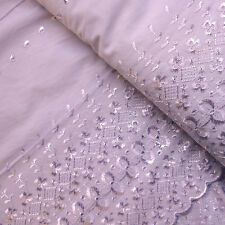 Pastel Lilac Polycotton Fabric with Double Ended Broderie Anglaise (Per Metre)