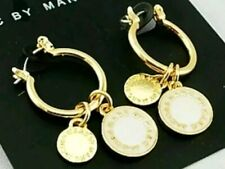 NEW MARC BY MARC JACOBS WHITE ENAMEL  DISC PENDANT GOLD TONE EARRINGS NEW