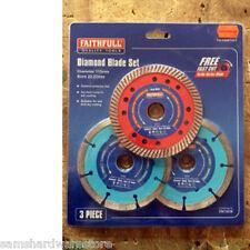 Faithfull 115 mm 3 PEZZI Diamond dischi taglio Blade Set Fai DBSET 3 KT