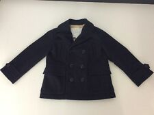 Burberry Boys Lana Wool Coat, Size Age 4, 104cm, Navy Blue, Immaculate