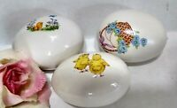 Vintage Ceramic Easter EGG Lot of 3 white With Designs