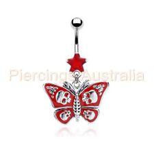 Gothic Skull Butterfly Belly Dangle Navel Bar Ring Body Piercing Jewellery