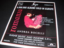 ANDREA BOCELLI 6 Million Albums Sold In Europe 1997 PROMO DISPLAY AD mint cond