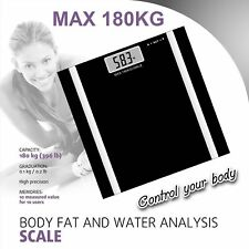 Digital Bathroom Body Fat Scale Weight Water BMI Glass LCD Electronic Black Grey