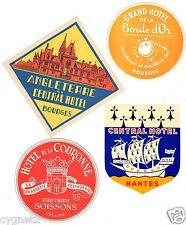LUGGAGE LABELS GROUP OF 8 FRENCH HOTELS BOURGES NANTES LIMOGES & OTHERS