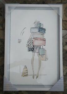 Marmont Hill Shopping Shopaholic Framed Glass Sketch Wall Art 46x30cm